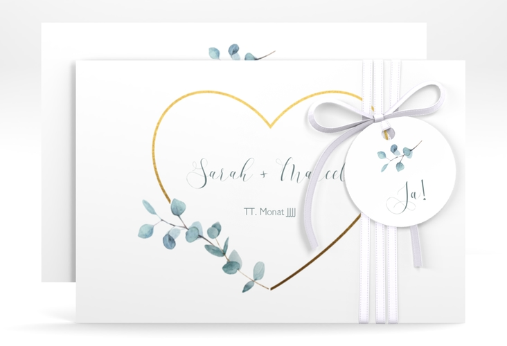 "Save the Date-Karte ""Greenheart"" A6 quer weiss"