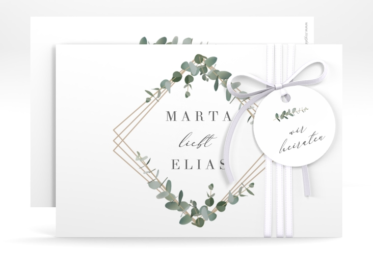 "Save the Date-Karte ""Eukalyptus"" A6 quer"