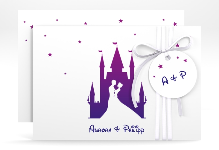"Save the Date-Karte ""Castle"" A6 quer lila"