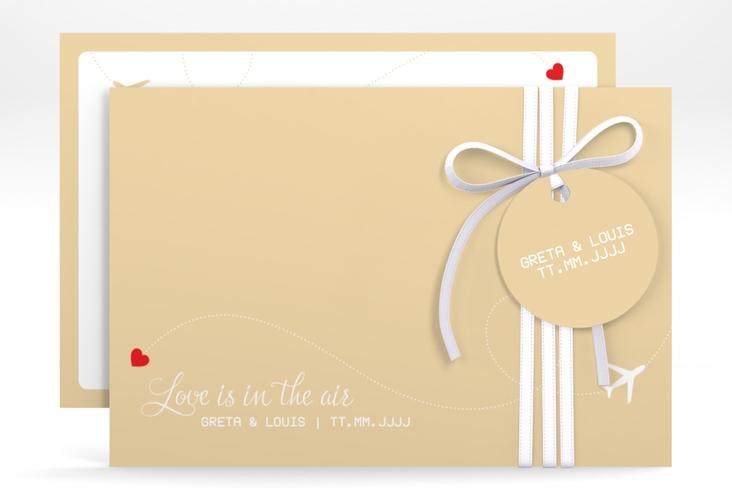 "Save the Date-Karte ""Weddingpass"" A6 quer beige"