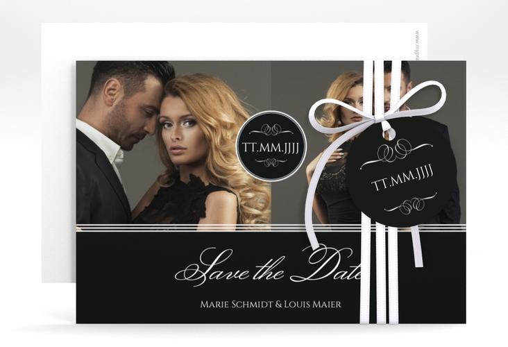 "Save the Date-Karte ""Elegancy"" A6 quer schwarz"