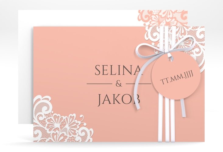 """Save the Date-Karte """"Vintage"""" A6 quer apricot"""