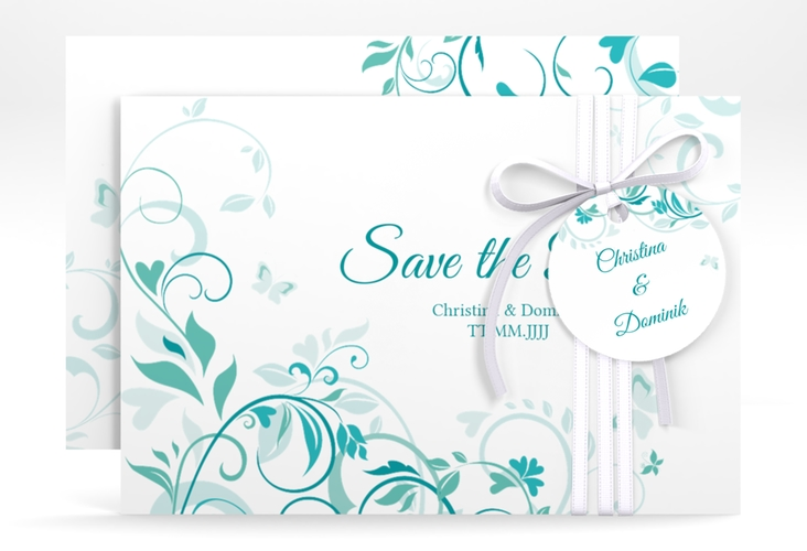 """Save the Date-Karte """"Lilly"""" A6 quer tuerkis"""