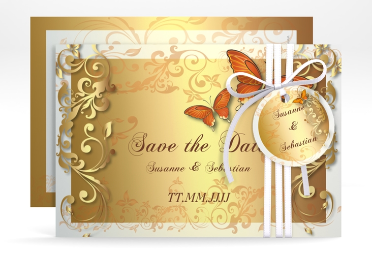 "Save the Date-Karte Hochzeit ""Toulouse"" A6 quer orange"