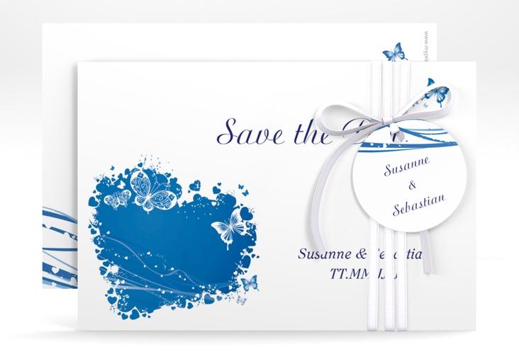 "Save the Date-Karte Hochzeit ""Mailand"" A6 quer blau"