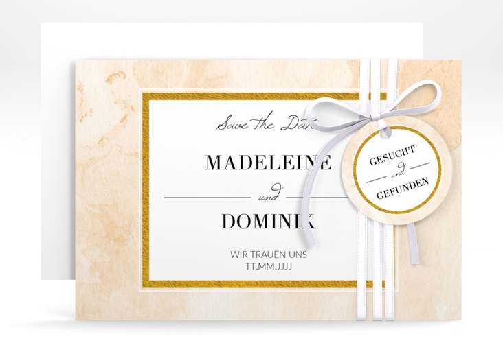 """Save the Date-Karte """"Marble"""" A6 quer beige"""
