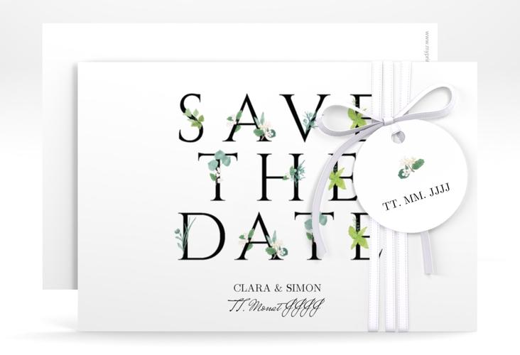 "Save the Date-Karte ""Greens"" A6 quer schwarz"