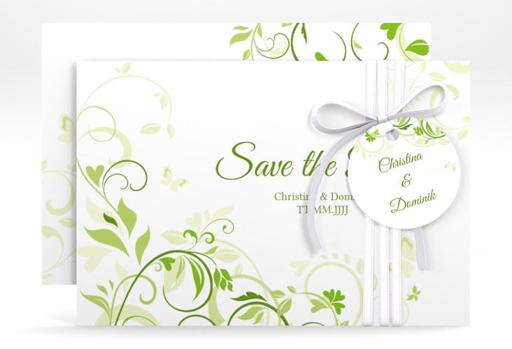 "Save the Date-Karte ""Lilly"" A6 quer gruen"