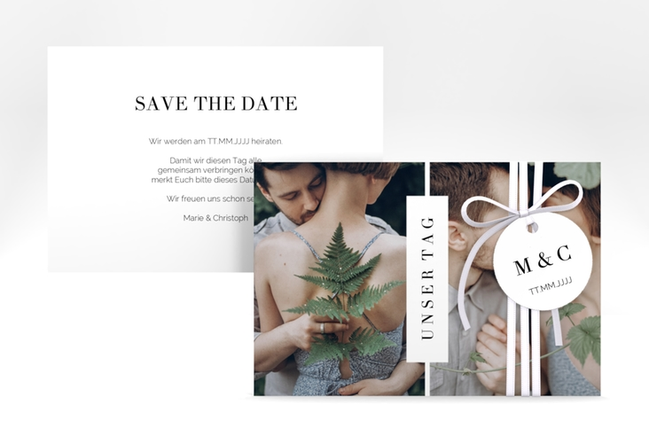 "Save the Date-Karte ""Klarheit"" A6 quer weiss"