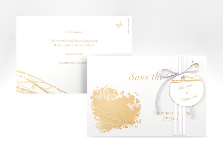 """Save the Date-Karte Hochzeit """"Mailand"""" A6 quer beige"""