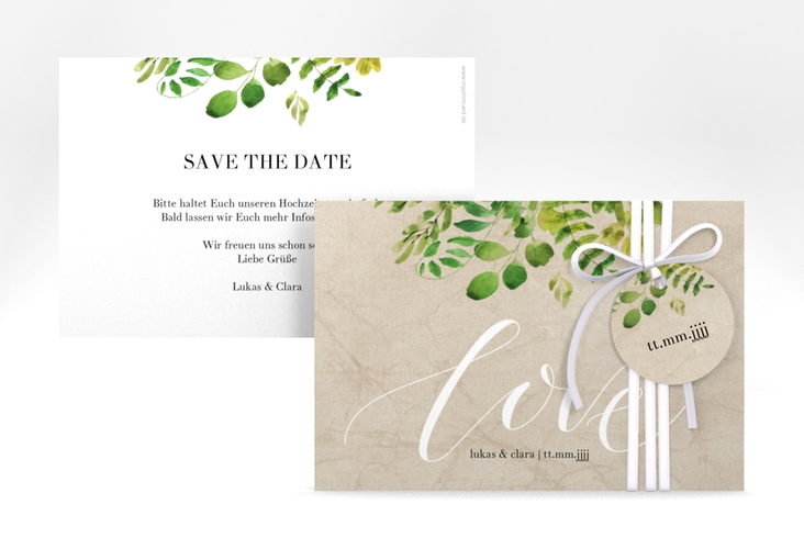 """Save the Date-Karte """"Botany"""" A6 quer beige"""