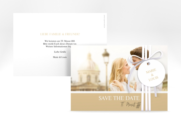 "Save the Date-Karte ""Balance"" A6 quer beige"
