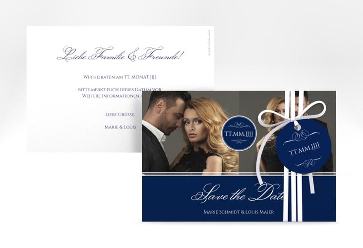 "Save the Date-Karte ""Elegancy"" A6 quer blau"