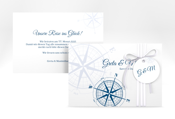 """Save the Date-Karte """"Windrose"""" A6 quer blau"""
