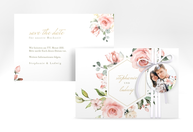 "Save the Date-Karte ""Graceful"" A6 quer weiss"
