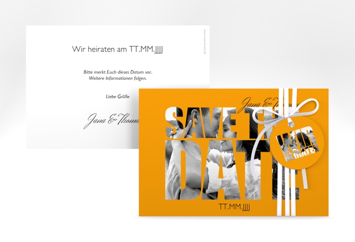 "Save the Date-Karte Hochzeit ""Letters"" A6 quer orange"