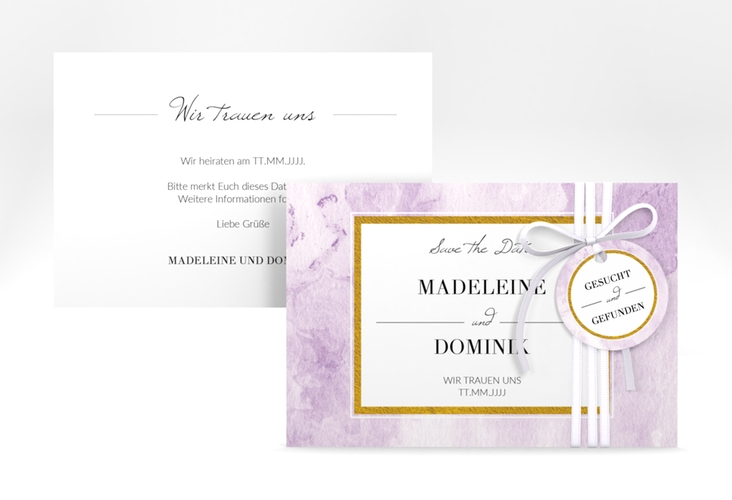 """Save the Date-Karte """"Marble"""" A6 quer flieder"""