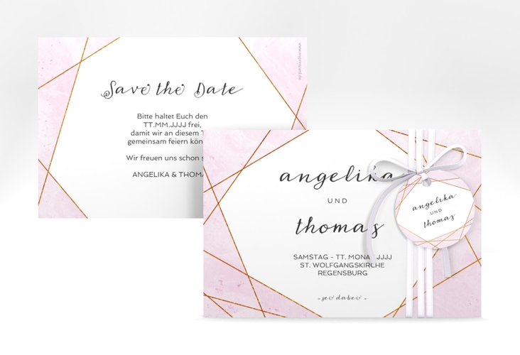 "Save the Date-Karte ""Asymmetry"" A6 quer rosa"
