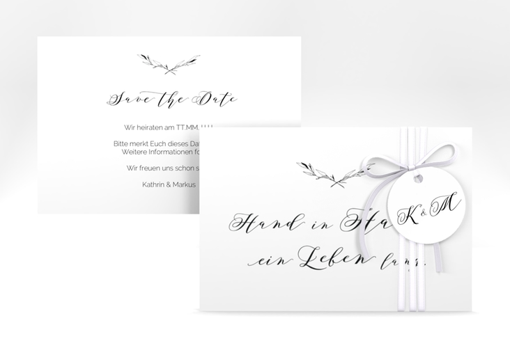 """Save the Date-Karte """"Divine"""" A6 quer weiss"""