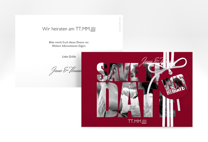 """Save the Date-Karte Hochzeit """"Letters"""" A6 quer rot"""
