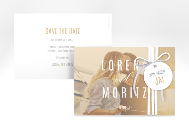 "Save the Date-Karte ""Memory"" A6 quer beige"