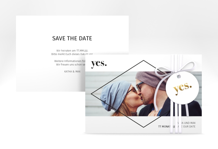 "Save the Date-Karte ""Yes"" A6 quer"