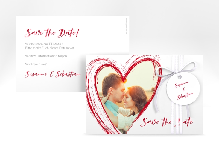 """Save the Date-Karte """"Liebe"""" A6 quer rot"""