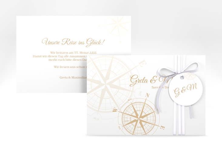 "Save the Date-Karte ""Windrose"" A6 quer beige"