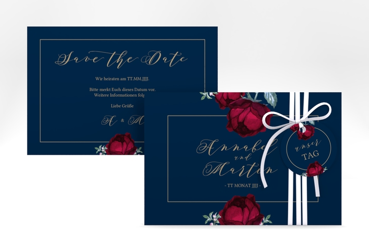 "Save the Date-Karte ""Peonies"" A6 quer blau"