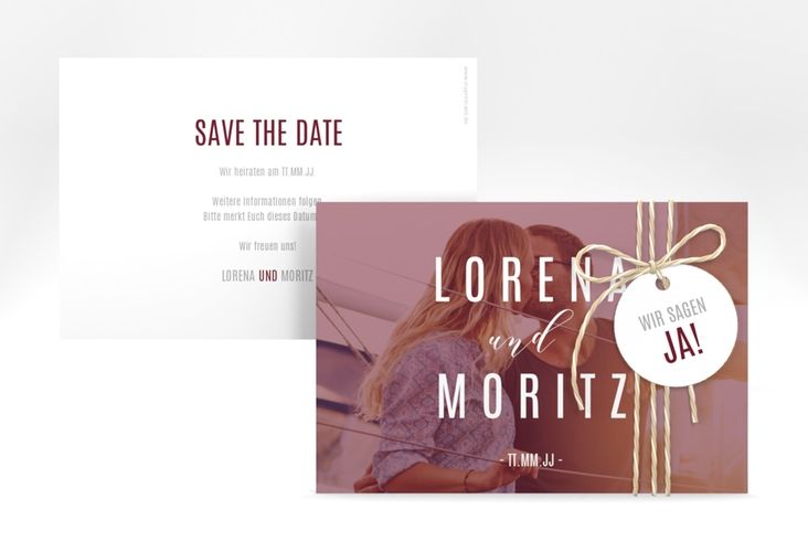 "Save the Date-Karte ""Memory"" A6 quer rot"