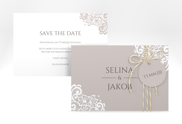 "Save the Date-Karte ""Vintage"" A6 quer grau"