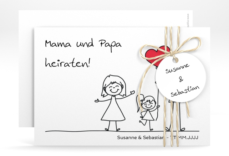 "Save the Date-Karte ""Familia"" A6 quer weiss"