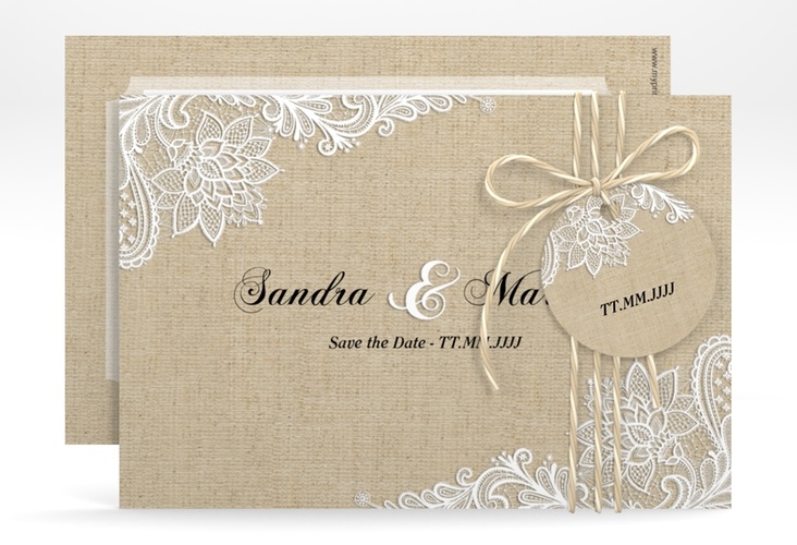 "Save the Date-Karte ""Lace"" A6 quer beige"
