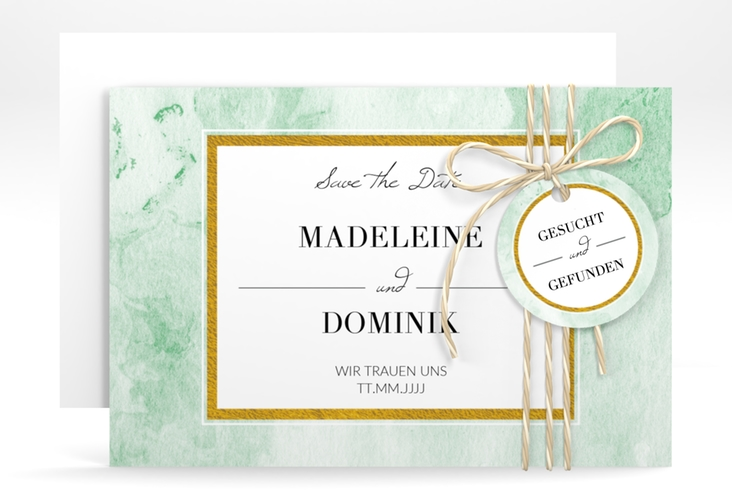 "Save the Date-Karte ""Marble"" A6 quer gruen"