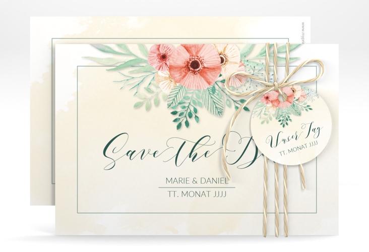 "Save the Date-Karte Hochzeit ""Surfinia"" A6 quer apricot"