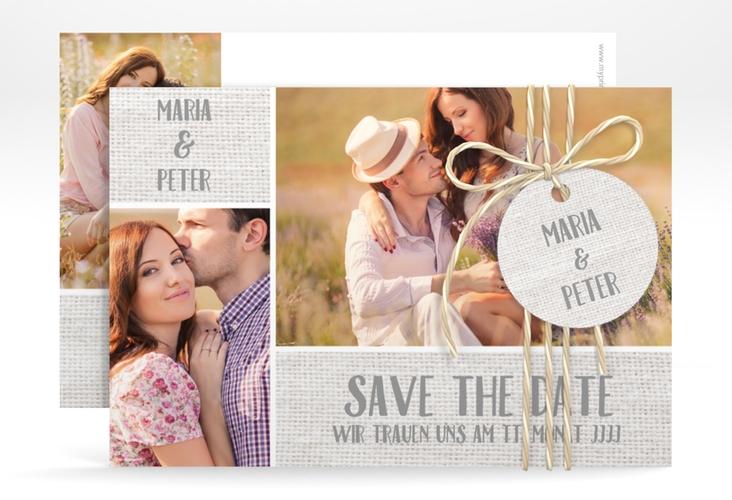 """Save the Date-Karte Hochzeit """"Landliebe"""" A6 quer weiss"""