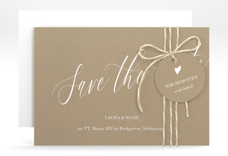 "Save the Date-Karte ""Kalligrafie"" A6 quer beige"
