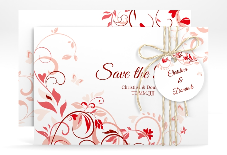 """Save the Date-Karte """"Lilly"""" A6 quer rot"""