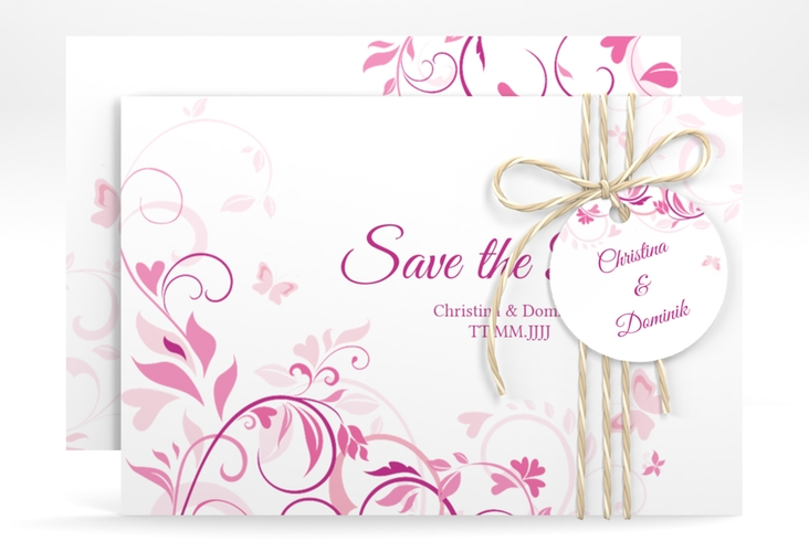 """Save the Date-Karte """"Lilly"""" A6 quer pink"""