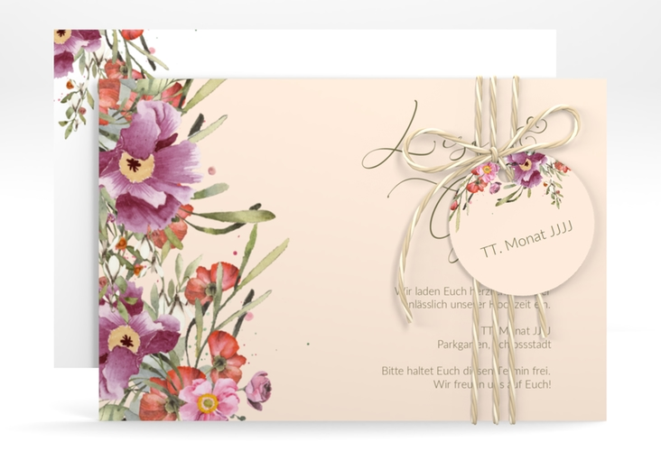 """Save the Date-Karte """"Rosey"""" A6 quer rosa"""