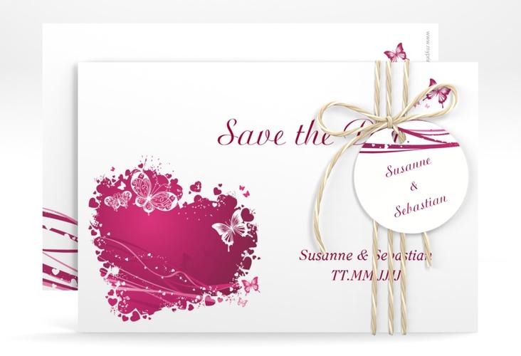 "Save the Date-Karte Hochzeit ""Mailand"" A6 quer pink"