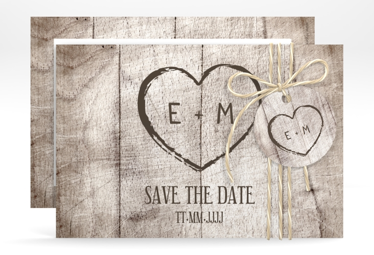 """Save the Date-Karte """"Wood"""" A6 quer weiss"""