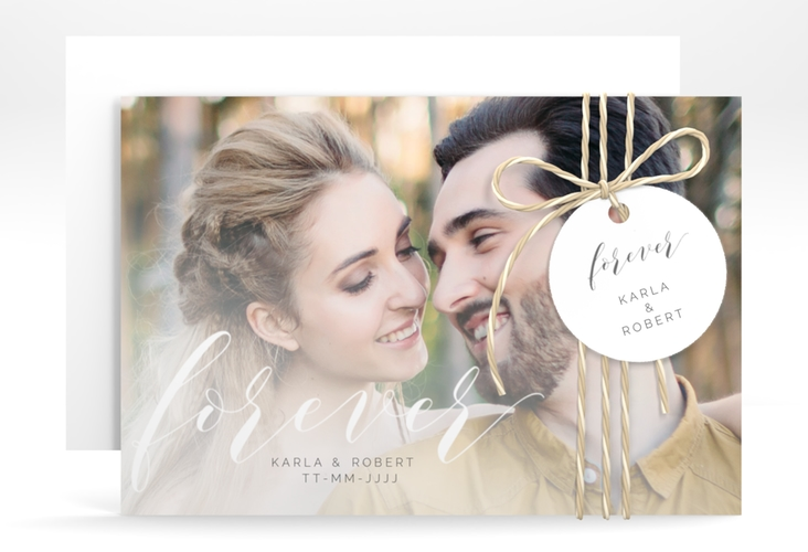 """Save the Date-Karte """"Promise"""" A6 quer weiss"""