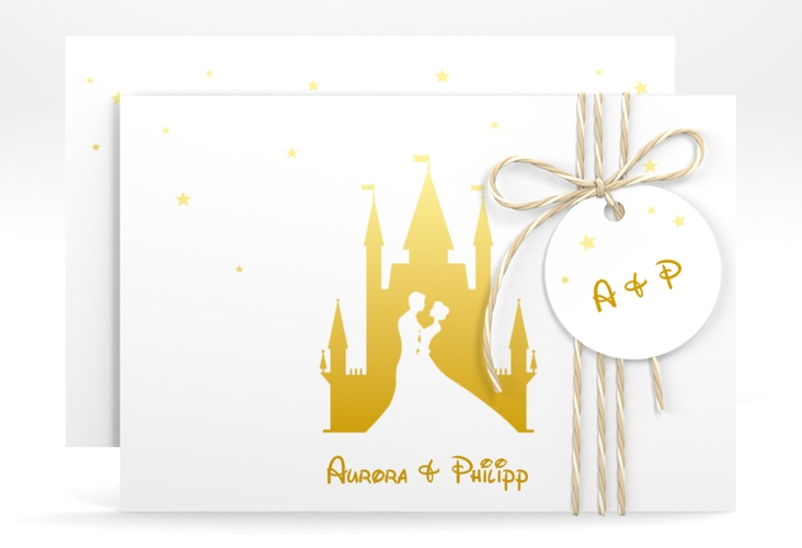 "Save the Date-Karte ""Castle"" A6 quer gold"