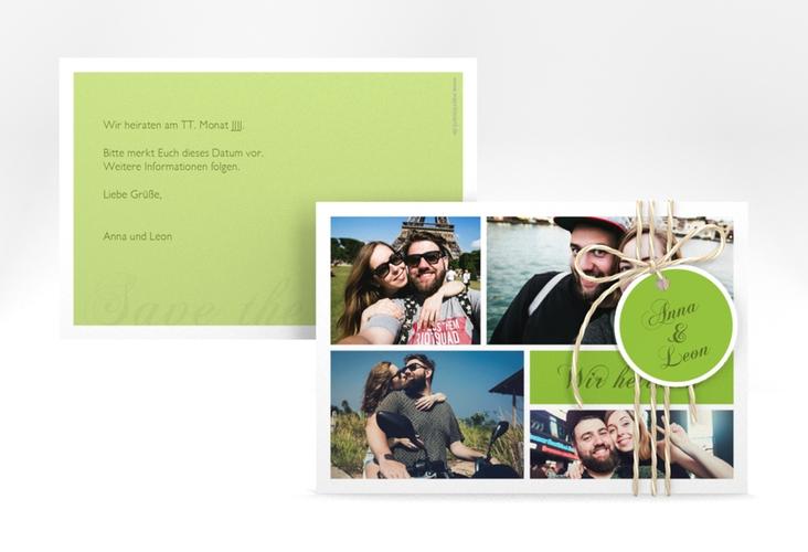 "Save the Date-Karte ""Collage"" A6 quer gruen"
