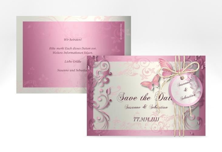 "Save the Date-Karte Hochzeit ""Toulouse"" A6 quer rosa"