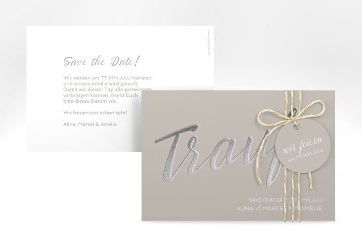 "Save the Date-Karte ""Traufe"" A6 quer grau"