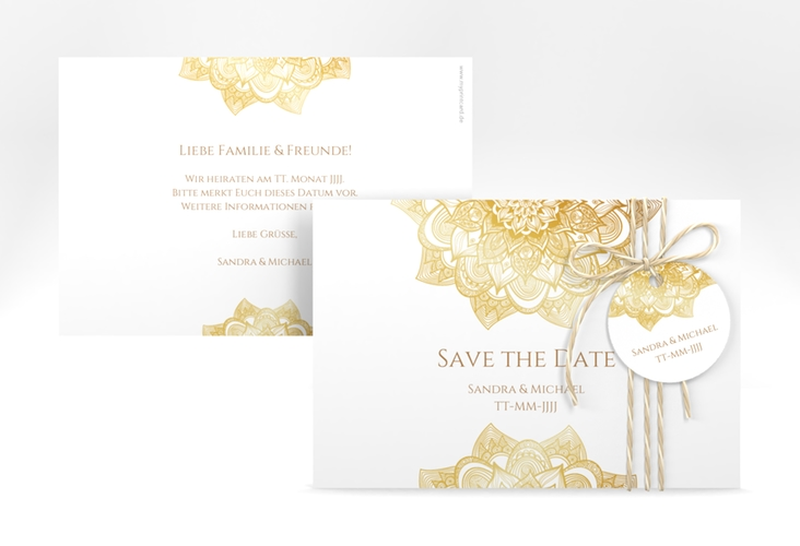 "Save the Date-Karte Hochzeit ""Delight"" A6 quer gold"