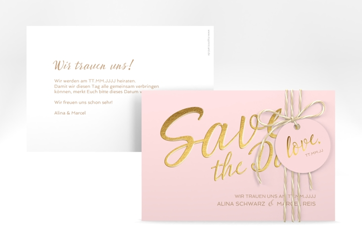 """Save the Date-Karte """"Glam"""" A6 quer rosa"""