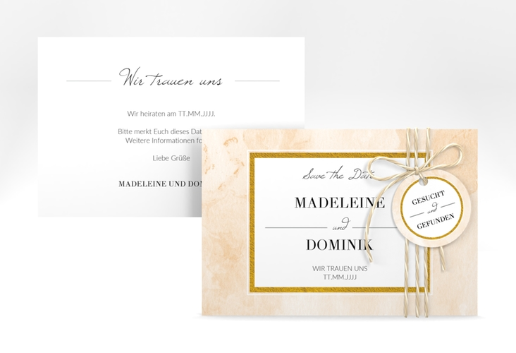 "Save the Date-Karte ""Marble"" A6 quer beige"